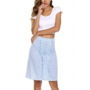 Summer New Trendy High Waist Striped Printed Ruffle Trim Slim Fit Midi A-Line Skirt