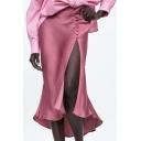 Summer Fancy Pink Slit Side Asymmetric Hem Beading Embellished Midi Flared Silk Skirt