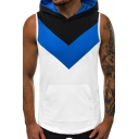 New Trendy Mens Sleeveless Coloblock Patch Pocket Front Sport Hooded Tank Tee