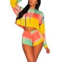 Stylish Long Sleeve Hooded Cropped Tee with Elastic Waist Tie Dye Holiday Two Piece Set