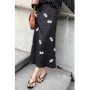 Womens New Fashion Black High Waist Floral Printed Midi Chiffon Skirt