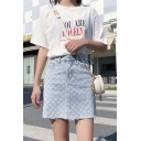 Summer High Waist Hot Drill Embellished Raw Hem Slim Fit Mini A-Line Denim Skirt