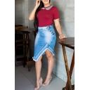 Womens Hot Sale High Waist Button Side Asymmetric Raw Hem Midi Denim Skirt