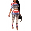 Half Sleeve Cropped Tee with High Waist Pants Colorblock Letter Printed Slim Two Piece Set