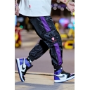 Men's Popular Fashion Colorblock Patched Side Loose Fit Street Trendy Track Pants with Side Pocket
