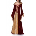 Womens Victorian Gothic Hooded Velvet Dress Long Sleeves Lace up Medieval Court Gowns