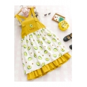 Girls Summer Hot Popular Allover Avocado Printed Midi Ruffled Overall Pinafore Dress