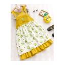 Girls Summer Hot Popular Allover Avocado Printed Midi Ruffled Overall Pinafore Dress