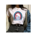 BADLANDS Letter Rainbow Printed Short Sleeve Round Neck Casual Loose Cotton Tee