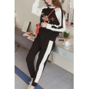 Womens Chic Fancy Bird Embroidery Long Sleeve Sweatshirt with Sweatpants Sport Running Two-Piece Set