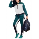 Womens Classic Fashion Colorblock Two-Tone Zip Jacket with Pants Sport Two-Piece Set