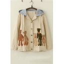 Cute Cartoon Teddy Bear Embroidery Button Down Casual Leisure Khaki Hooded Coat