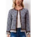 Womens Stylish Ethnic Style Tribal Printed Tassel Hem Open Front Cardigan Coat Jacket