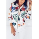 Womens Fancy Floral Leaf Printed Stand Collar Long Sleeve Zip Up Baseball Jacket