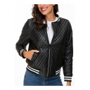 Womens Trendy Black Rib Stand Collar Long Sleeve Zip Up Padded Jacket
