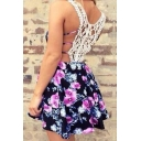Womens Sexy Hollow Out Lace Patched Back Purple Floral Print Mini Slip Dress
