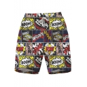 Hot Fashion Cartoon Letter Printed Mens Summer Beach Swim Trunks with Drawstring