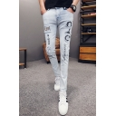 Men's Stylish Letter Printed Light Blue Skinny Ripped Jeans