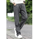 Men's Basic Fashion Solid Color Grey Relaxed Fit Casual Straight Jeans