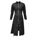 Men's New Stylish Vintage One Piece Plain Long Sleeve Stand-Collar Long Black Coats
