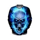 Popular 3D Skull Pattern Stand Collar Long Sleeve Blue Unisex Baseball Jacket