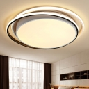 Metallic Drum Flush Mount Lighting with Circle Ring Modern Design LED Ceiling Light in Black and White
