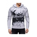 New Fashion Letter Halloween Spider Bat Printed Long Sleeve Slim Fit White Hoodie