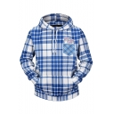 Trendy Blue and White Plaid Pattern Long Sleeve Casual Loose Fit Drawstring Hoodie