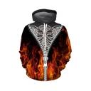 Halloween Creative Fashion Fire Zipper Skeleton 3D Printed Long Sleeve Loose Fit Black Drawstring Hoodie