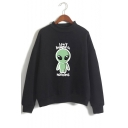 Funny Cartoon Alien I Don't Believe In Humans Printed Mock Neck Long Sleeve Pullover Sweatshirt