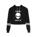 Fashion Storm Area Alien Printed Stripe Long Sleeve Pullover Crop Hoodie