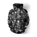 Cool Fashion Clown Skull Ghost 3D Printed Long Sleeve Unisex Black Loose Hoodie