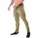New Arrival Letter Printed Flap Pocket Side Drawstring Waist Mens Slim Fitness Pencil Pants