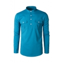 Mens Hot Fashion Basic Solid Color Stand Collar Long Sleeve Double Pockets Casual Business Shirt