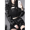Woemns Cool Punk Style Black Stripe Long Sleeve Buckled Detail Crop Hoodie