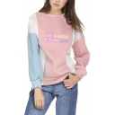 Letter Love Yourself Answer Colorblocked Long Sleeve Round Neck Sweatshirt