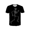 New Stylish Cool Skull Print Basic Round Neck Short Sleeve Black Tee