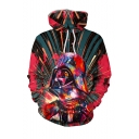 New Fashion Trendy Watercolor Spray Paint Judge 3D Printed Long Sleeve Red Drawstring Hoodie