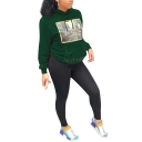 New Popular Printed Long Sleeve Distressed Cut Out Relaxed Hoodie With Pocket