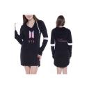 Fashion Kpop Logo Love Yourself V-Neck Long Sleeve Longline Hoodie