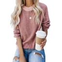 Women's Plain Long Sleeves Pullover Loose Fluffy Sweatshirts