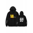 Trendy Boy Band Yellow Wood Letter Printed Loose Fitted Unisex Hoodie