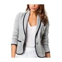 Fashion Two Button Contrast Trim Slim Design Short Blazer Jacket
