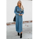 Simple Lapel Collar Chest Pocket Tied Waist Maxi Denim Coat