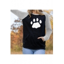 Color Block Bear Claw Print Long Sleeve Leisure Pullover Sweatshirt With Pocket