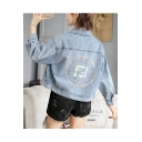 Fall Fashion Laminated Embellished Short Denim Jacket Coat with Pink Button
