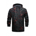 Mens Outdoor Fashion Camo Pattern Long Sleeve Protection Zip Up Hooded Sport Jacket Coat