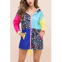 Casual Color Block Geometric Printed Zipper Drawstring Hem Hooded Long Coat