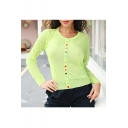 Womens New Fashion Round Neck Plain Long Sleeve Button Down Loose Knitwear Green T-Shirt