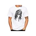 Men's New Stylish Skull Print Round Neck Short Sleeve White Casual T-Shirt